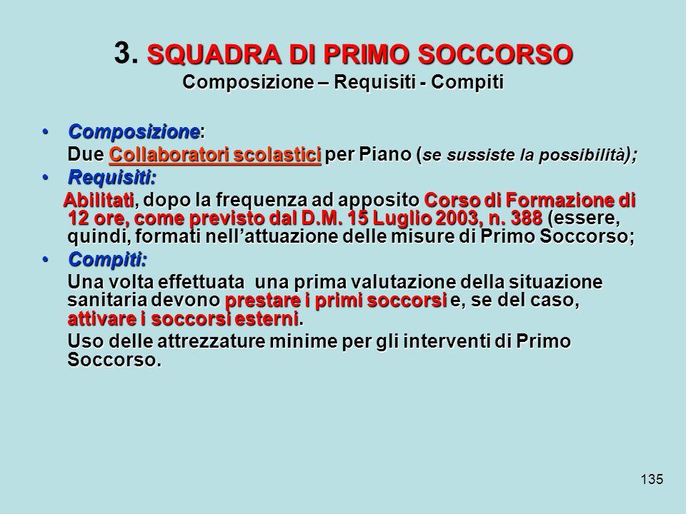 3. SQUADRA DI PRIMO SOCCORSO Composizione – Requisiti - Compiti