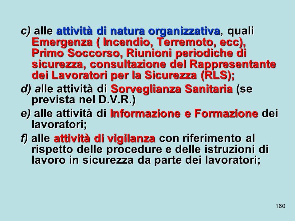 c) alle attività di natura organizzativa, quali Emergenza ( Incendio, Terremoto, ecc), Primo Soccorso, Riunioni periodiche di sicurezza, consultazione del Rappresentante dei Lavoratori per la Sicurezza (RLS);