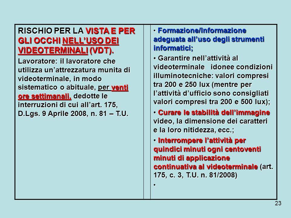 RISCHIO PER LA VISTA E PER GLI OCCHI NELL'USO DEI VIDEOTERMINALI (VDT).