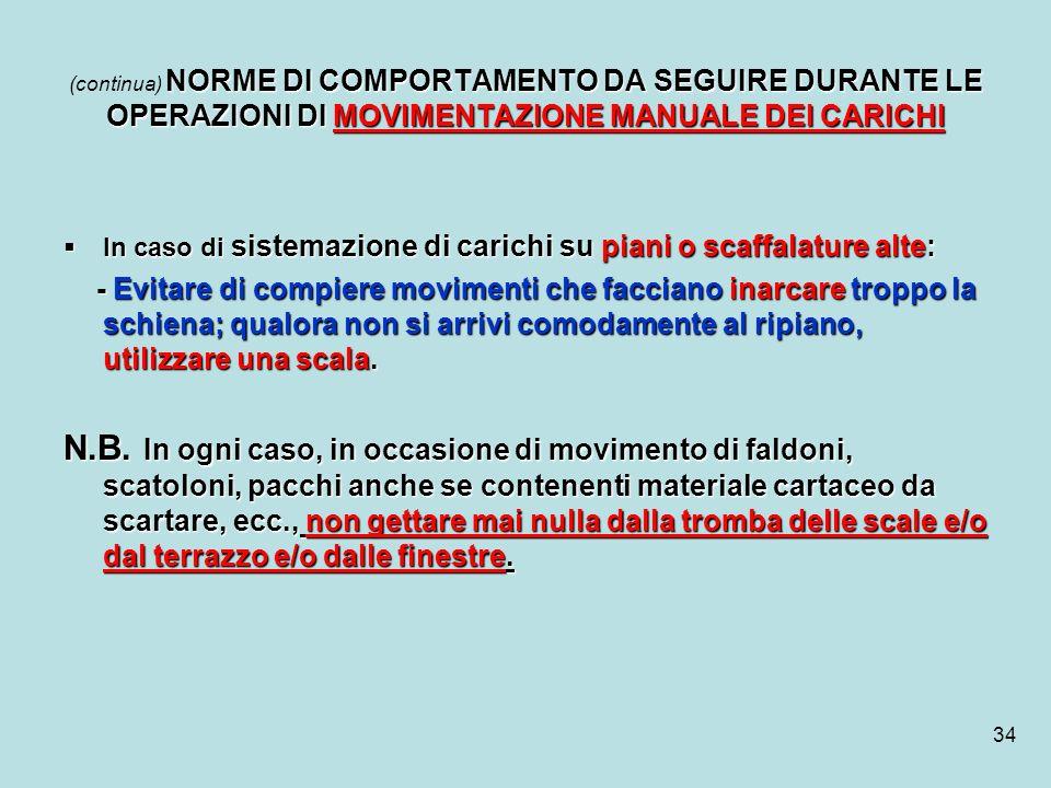 (continua) NORME DI COMPORTAMENTO DA SEGUIRE DURANTE LE OPERAZIONI DI MOVIMENTAZIONE MANUALE DEI CARICHI