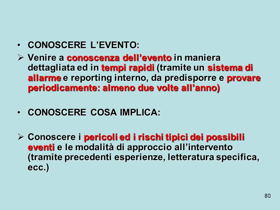 CONOSCERE L'EVENTO: