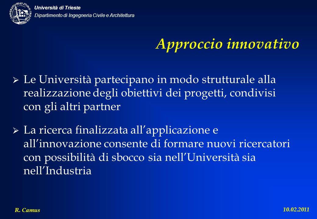 Approccio innovativo Le Università partecipano in modo strutturale alla realizzazione degli obiettivi dei progetti, condivisi con gli altri partner.