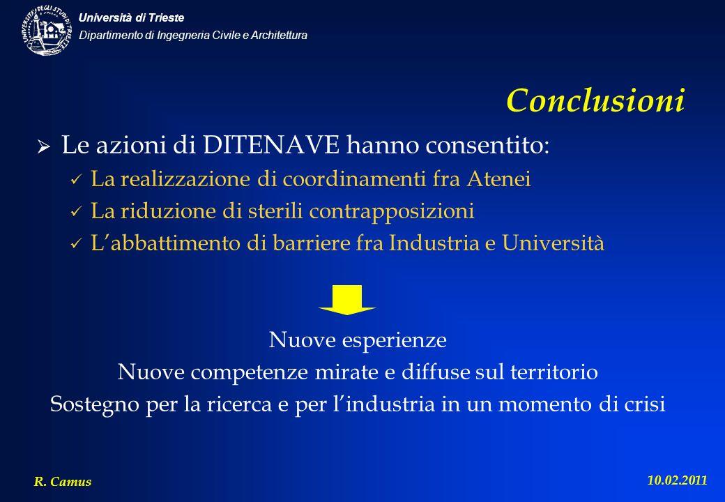 Conclusioni Le azioni di DITENAVE hanno consentito: