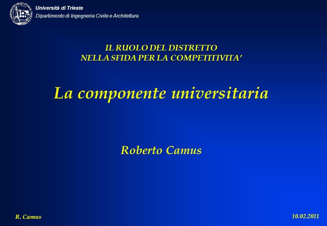 IL RUOLO DEL DISTRETTO NELLA SFIDA PER LA COMPETITIVITA' La componente universitaria Roberto Camus