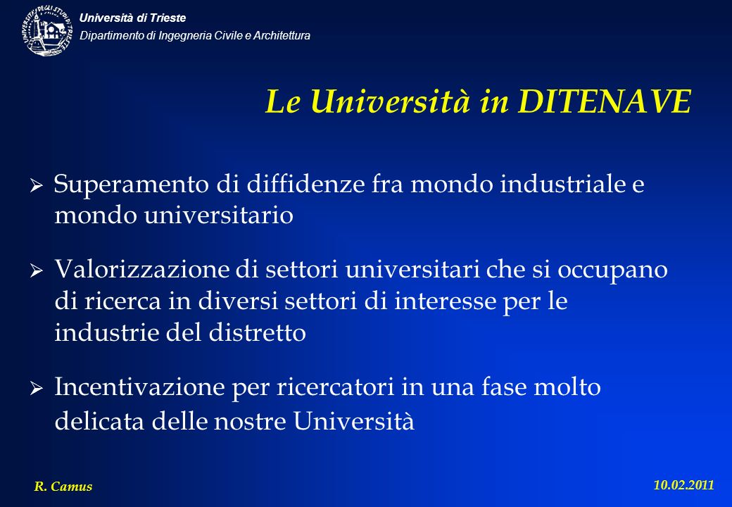 Le Università in DITENAVE