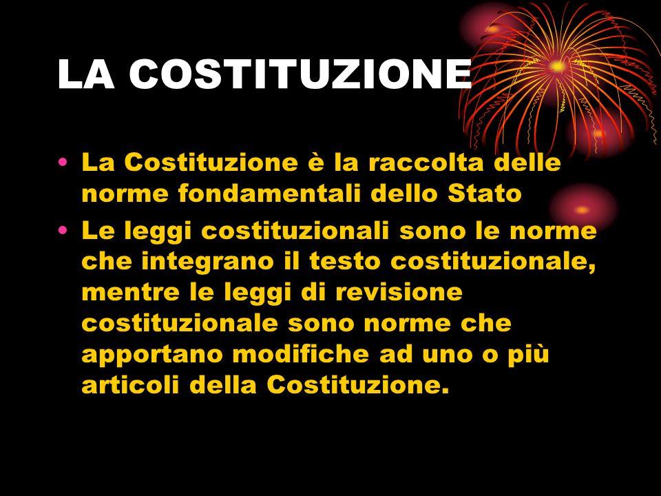 LA COSTITUZIONE La Costituzione è la raccolta delle norme fondamentali dello Stato.