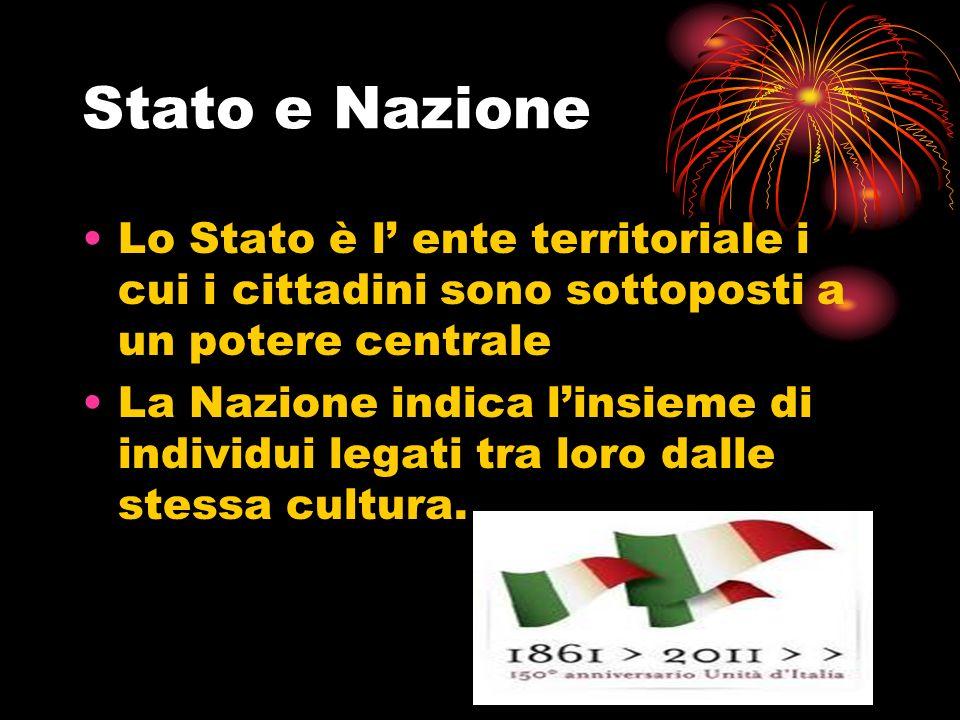 Stato e Nazione Lo Stato è l' ente territoriale i cui i cittadini sono sottoposti a un potere centrale.