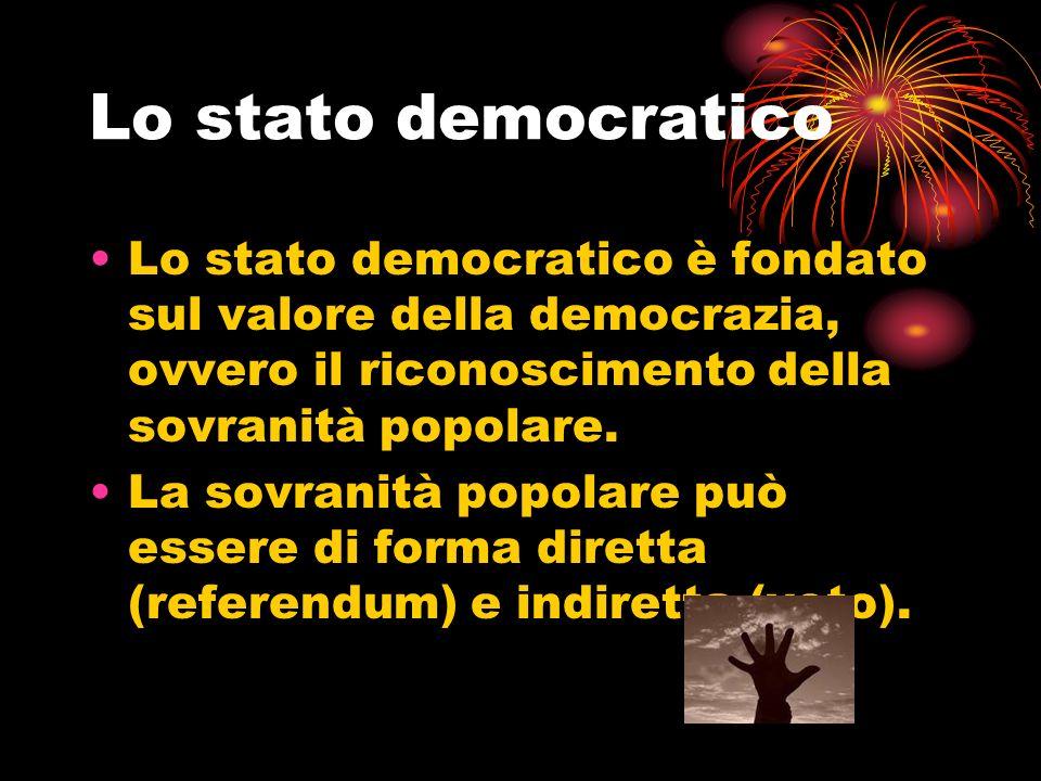Lo stato democratico Lo stato democratico è fondato sul valore della democrazia, ovvero il riconoscimento della sovranità popolare.