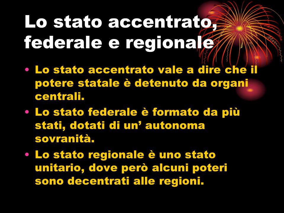 Lo stato accentrato, federale e regionale