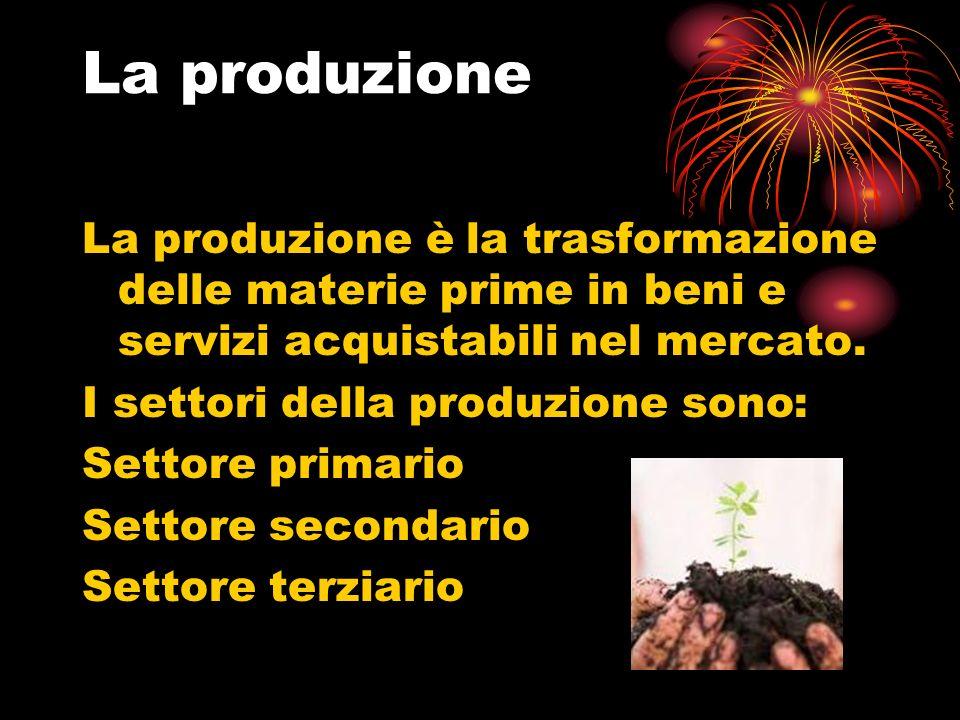 La produzione La produzione è la trasformazione delle materie prime in beni e servizi acquistabili nel mercato.