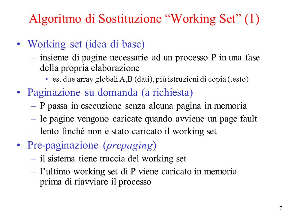 Algoritmo di Sostituzione Working Set (1)