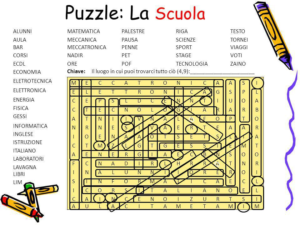 Puzzle: La Scuola ALUNNI MATEMATICA PALESTRE RIGA TESTO AULA MECCANICA