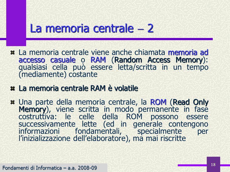 La memoria centrale  2