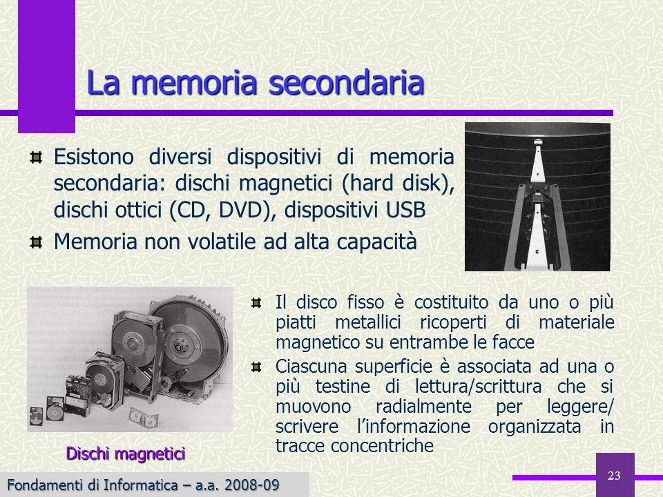 La memoria secondariaEsistono diversi dispositivi di memoria secondaria: dischi magnetici (hard disk), dischi ottici (CD, DVD), dispositivi USB.
