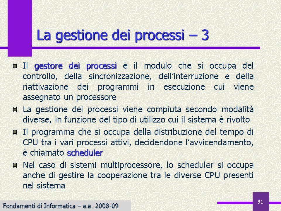 La gestione dei processi – 3