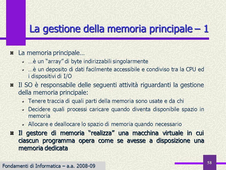 La gestione della memoria principale – 1