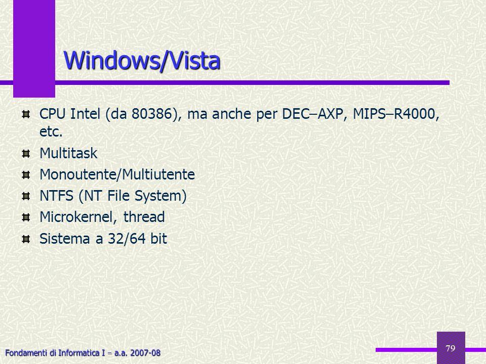 Windows/VistaCPU Intel (da 80386), ma anche per DEC–AXP, MIPS–R4000, etc. Multitask. Monoutente/Multiutente.