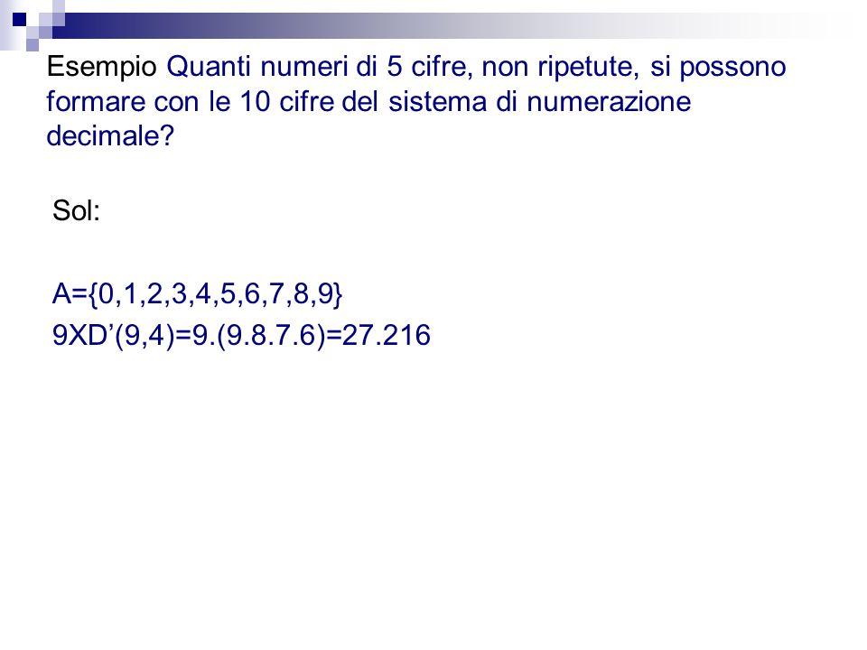 Esempio Quanti numeri di 5 cifre, non ripetute, si possono formare con le 10 cifre del sistema di numerazione decimale