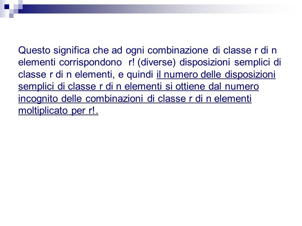 Questo significa che ad ogni combinazione di classe r di n elementi corrispondono r.