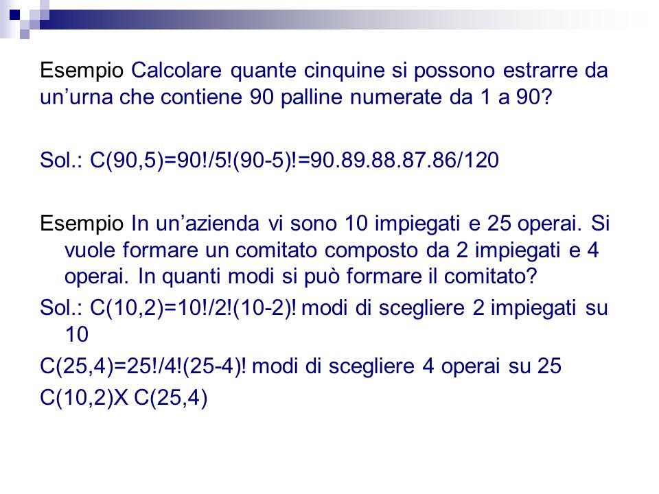 Esempio Calcolare quante cinquine si possono estrarre da un'urna che contiene 90 palline numerate da 1 a 90