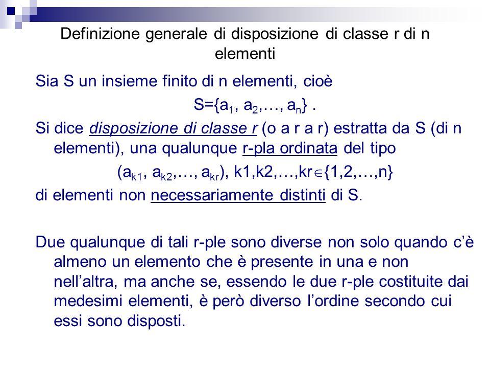 Definizione generale di disposizione di classe r di n elementi