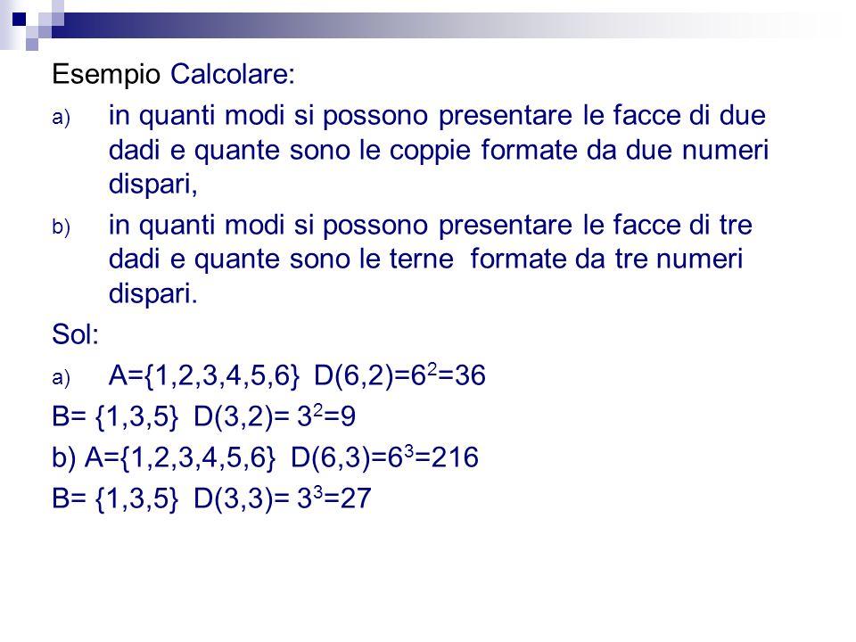 Esempio Calcolare: in quanti modi si possono presentare le facce di due dadi e quante sono le coppie formate da due numeri dispari,