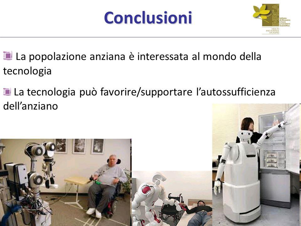 Conclusioni La popolazione anziana è interessata al mondo della tecnologia.