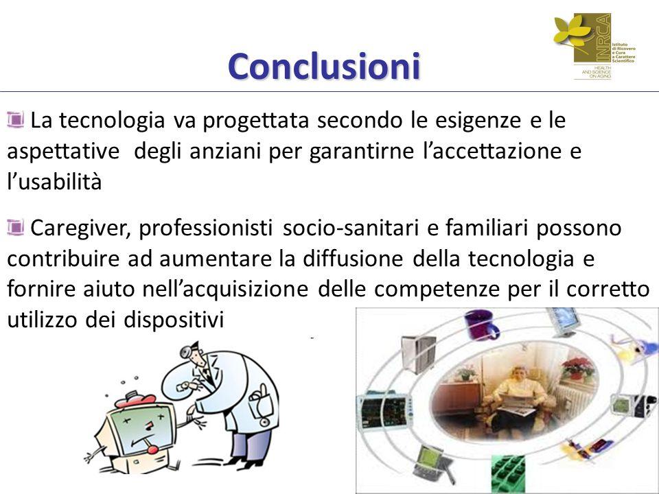Conclusioni La tecnologia va progettata secondo le esigenze e le aspettative degli anziani per garantirne l'accettazione e l'usabilità.