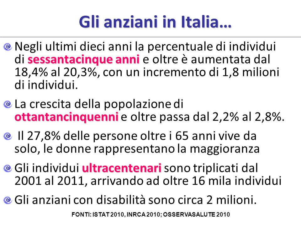 FONTI: ISTAT 2010, INRCA 2010; OSSERVASALUTE 2010
