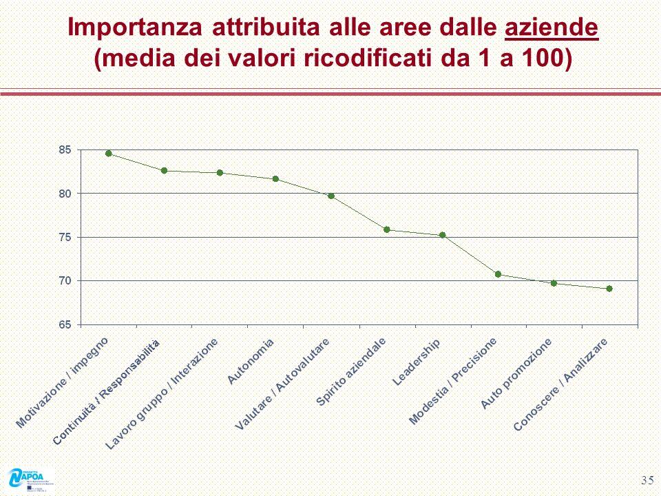 Importanza attribuita alle aree dalle aziende (media dei valori ricodificati da 1 a 100)