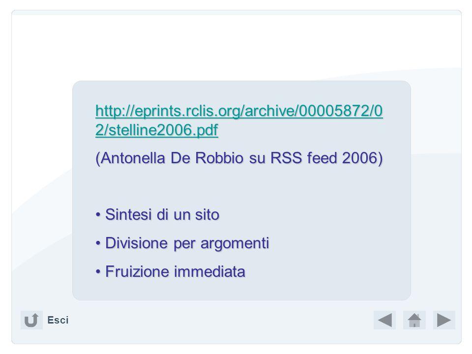 (Antonella De Robbio su RSS feed 2006)