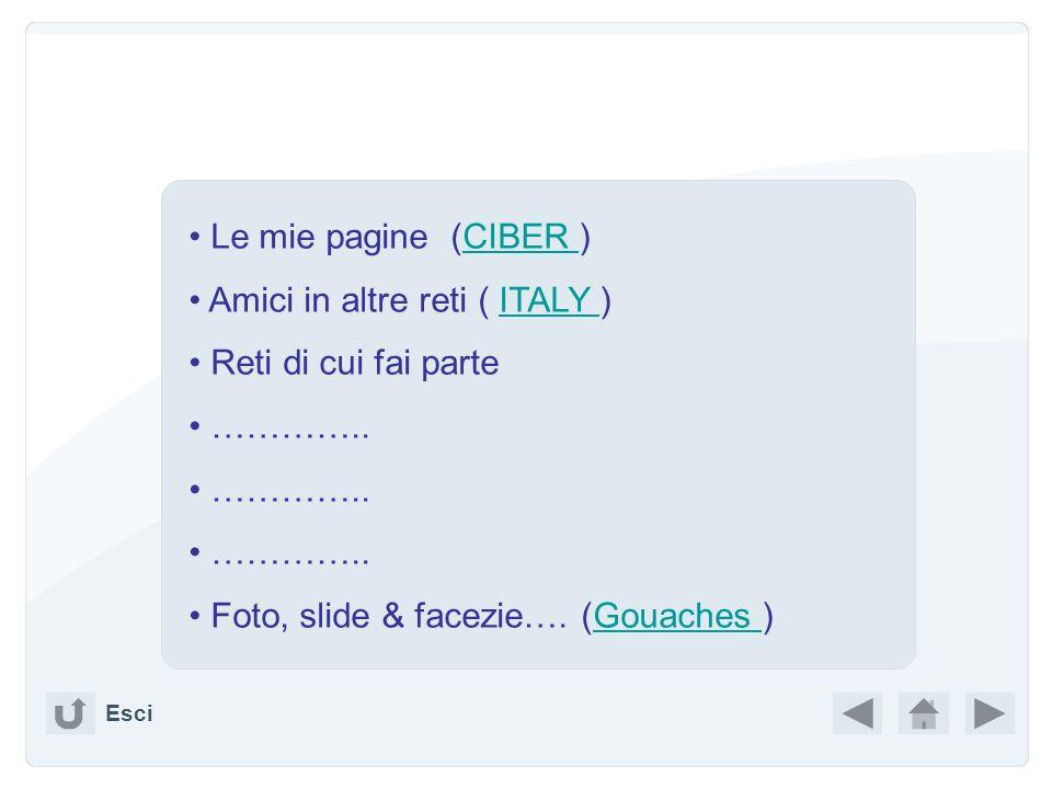 Amici in altre reti ( ITALY ) Reti di cui fai parte …………..