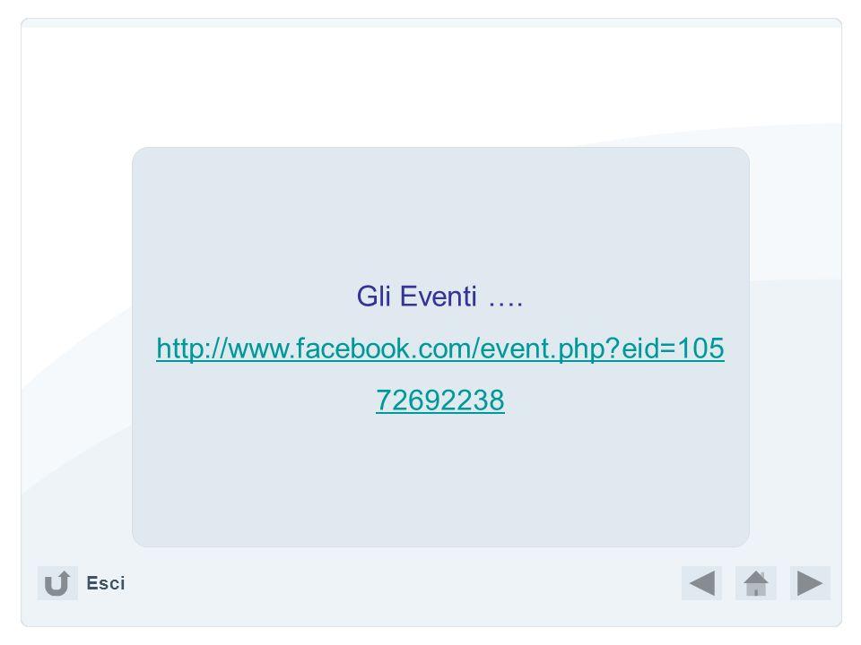 Gli Eventi …. http://www.facebook.com/event.php eid=10572692238 Esci