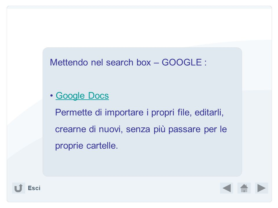 Mettendo nel search box – GOOGLE :
