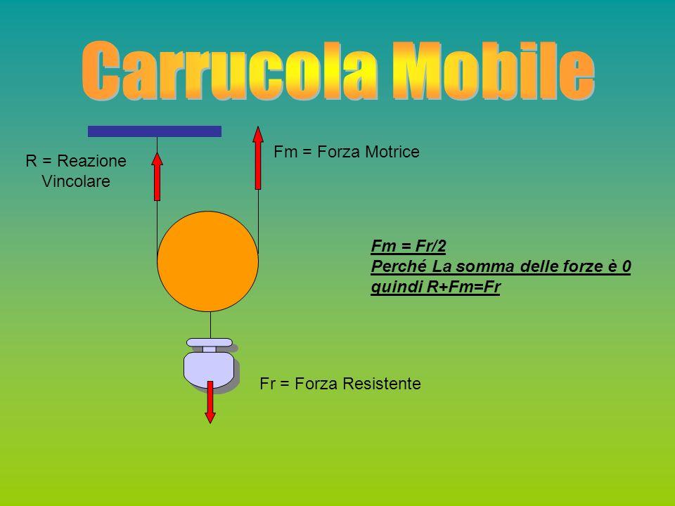 Carrucola Mobile Fm = Forza Motrice R = Reazione Vincolare Fm = Fr/2