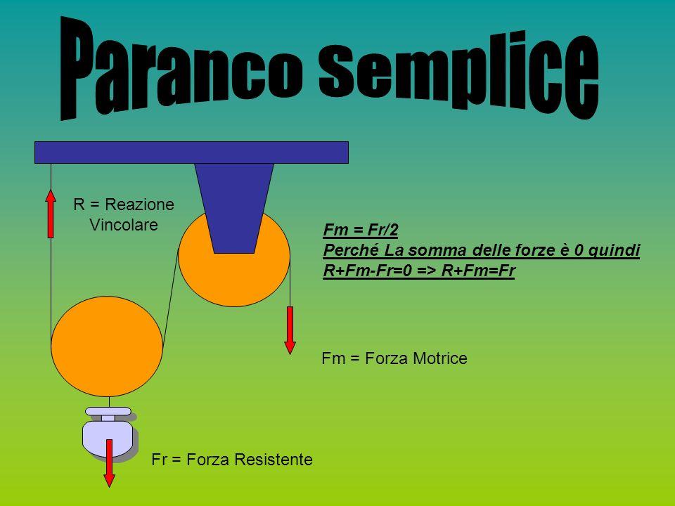 Paranco Semplice R = Reazione Vincolare Fm = Fr/2