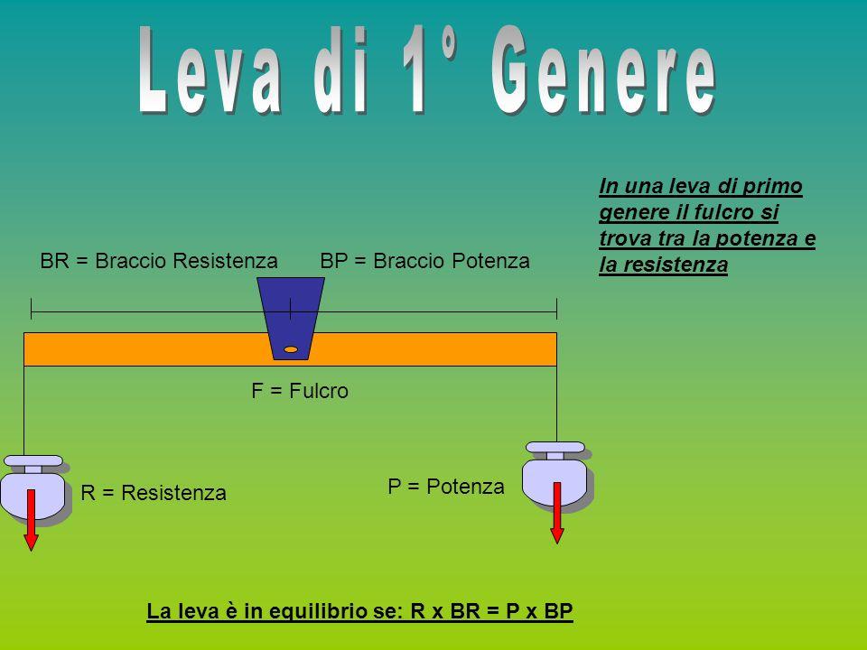 Leva di 1° Genere In una leva di primo genere il fulcro si trova tra la potenza e la resistenza. BR = Braccio Resistenza.