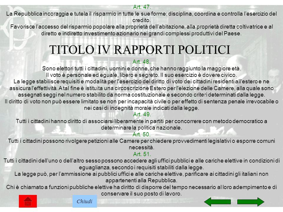 TITOLO IV RAPPORTI POLITICI