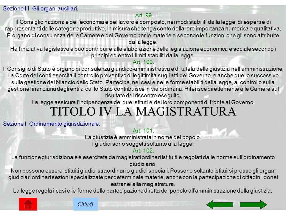TITOLO IV LA MAGISTRATURA