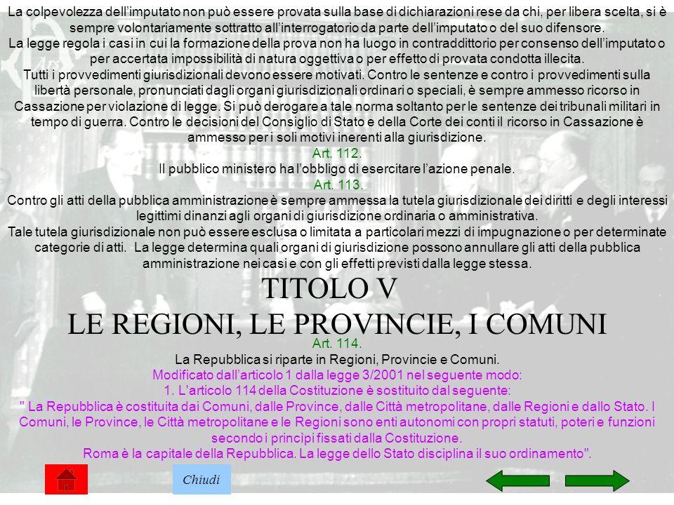 TITOLO V LE REGIONI, LE PROVINCIE, I COMUNI
