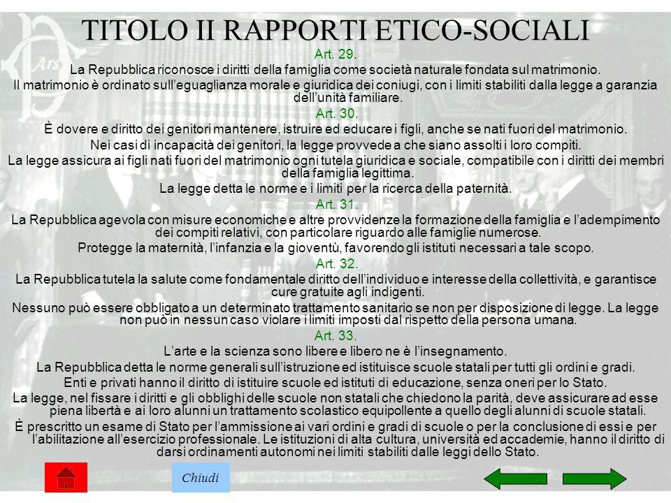 TITOLO II RAPPORTI ETICO-SOCIALI