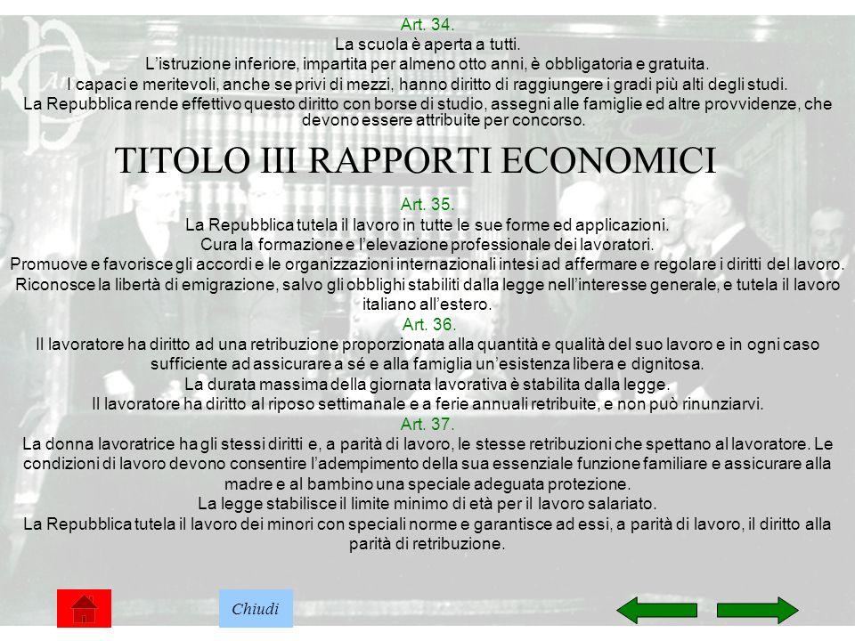 TITOLO III RAPPORTI ECONOMICI