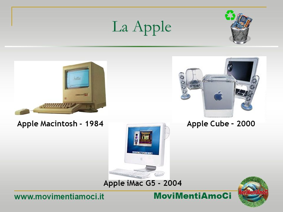 La Apple Apple Macintosh - 1984 Apple Cube – 2000 Apple iMac G5 - 2004
