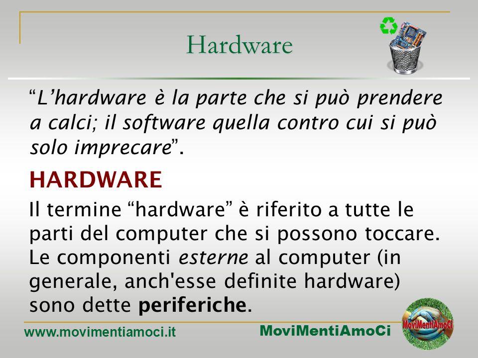 Hardware L'hardware è la parte che si può prendere a calci; il software quella contro cui si può solo imprecare .
