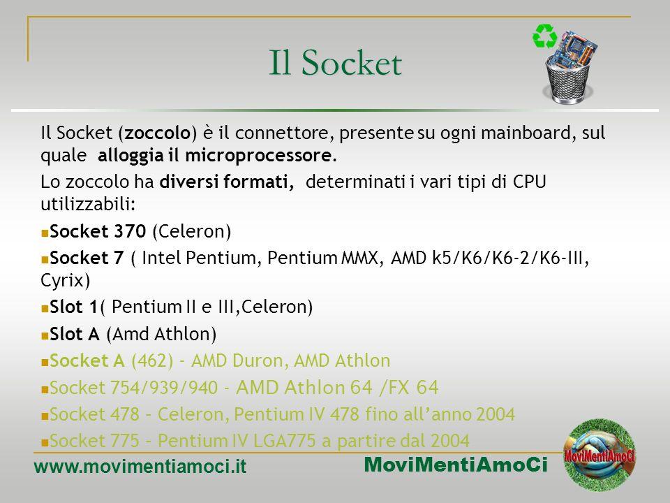 Il Socket Il Socket (zoccolo) è il connettore, presente su ogni mainboard, sul quale alloggia il microprocessore.