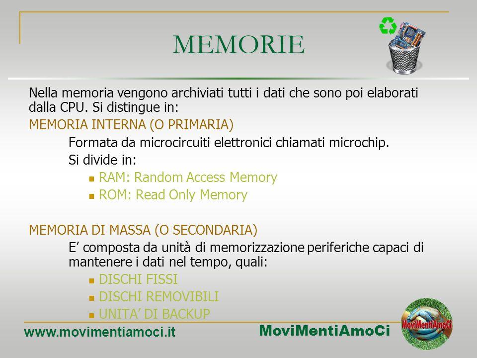 MEMORIE Nella memoria vengono archiviati tutti i dati che sono poi elaborati dalla CPU. Si distingue in:
