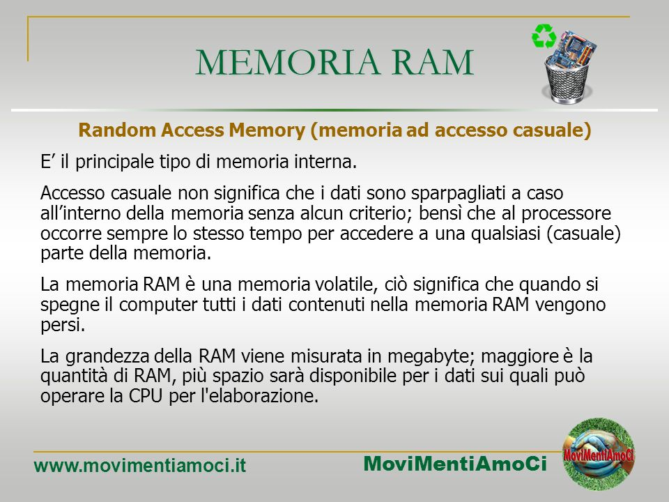 Random Access Memory (memoria ad accesso casuale)