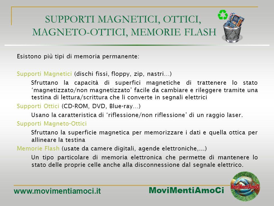 SUPPORTI MAGNETICI, OTTICI, MAGNETO-OTTICI, MEMORIE FLASH