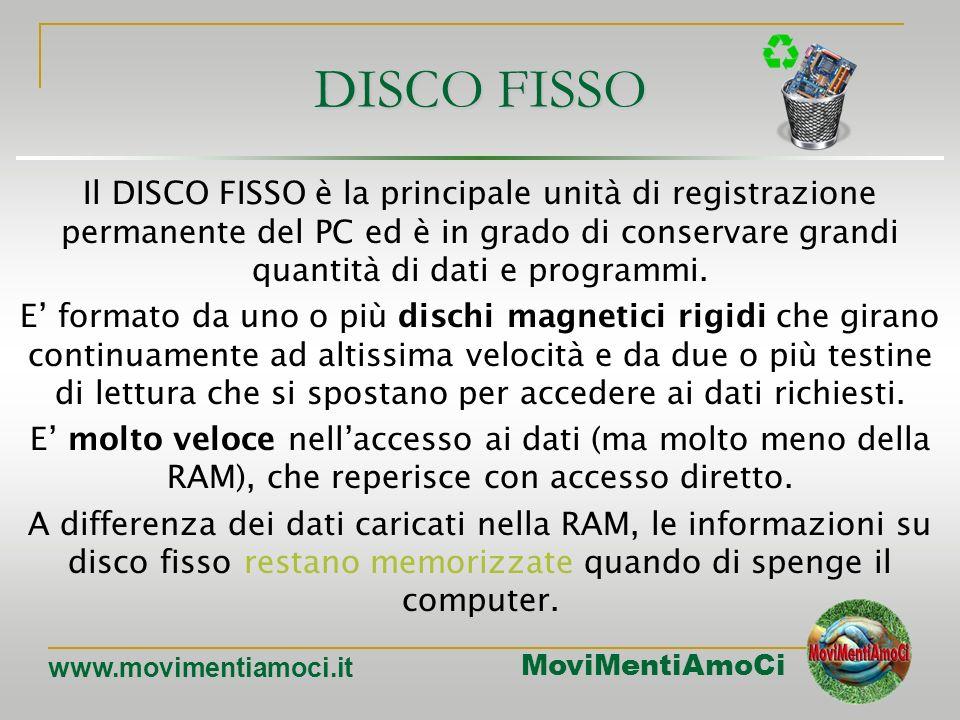 DISCO FISSO Il DISCO FISSO è la principale unità di registrazione permanente del PC ed è in grado di conservare grandi quantità di dati e programmi.