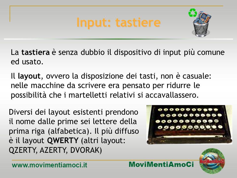 Input: tastiere La tastiera è senza dubbio il dispositivo di input più comune ed usato.